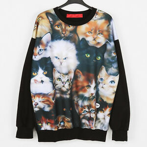 Cat-Sweatshirt-Cats-Sweater-Black-Women-Sweats-Men-Pullover-Rock-Punk-New-Jumper