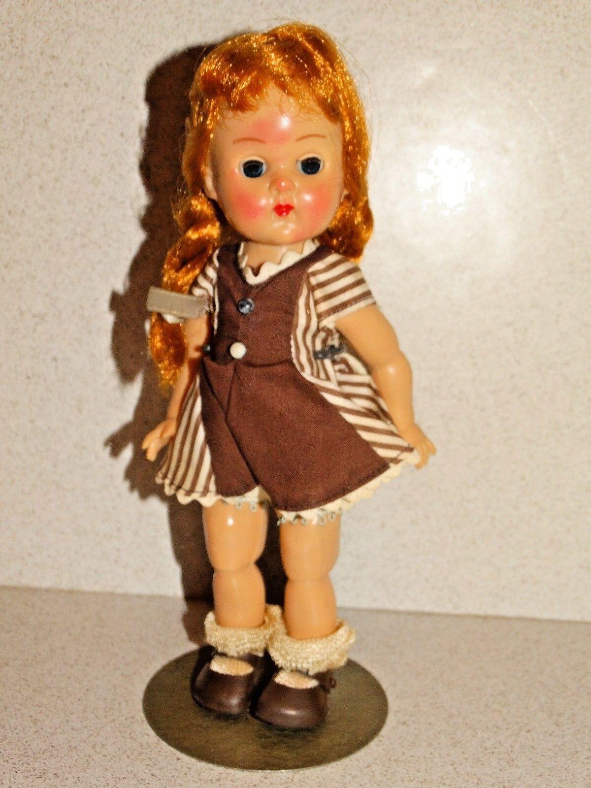 Moda Vintage 1950s pelirroja Ginny BK Walker Muñeca con fiebre azulsh & Ginny Stand