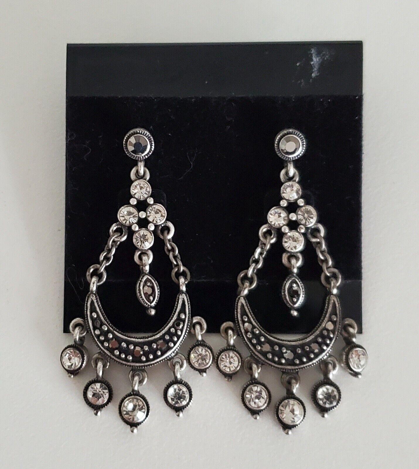 Earrings Dangle Rhinestone Chandelier Steampunk Boho Gothic Pierced Silvertone