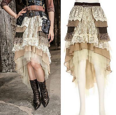 Steampunk Gothic RQ BL Rock lang kurz asymmetrisch beige skirt Vintage Spitzen
