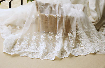 "Lace Fabric Ivory Tulle Cotton Embroidery Flower Wedding Bridal 51"" width 1 yard"