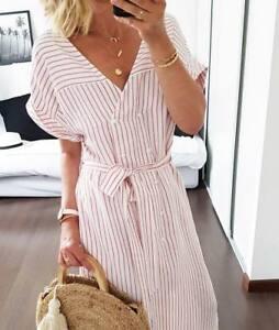 Zara Striped Midi Dress Size MEDIUM BNWT