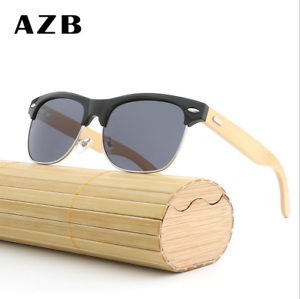 Handmade Unisex Wood Polarized Sunglasses Half Brown Wood Frame Glasses New bb381d278