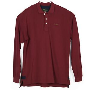ORVIS-Mens-L-S-Pique-Polo-Shirt-Size-L-Tall-Maroon-Burgundy-Embroidered-NWOT