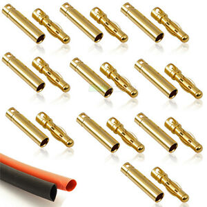 10x-PAIR-Of-RC-4mm-Gold-Bullet-Connector-INC-Heat-Shrink-Li-po-Battery-ESC-Motor