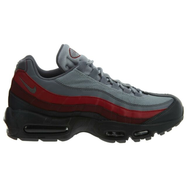 buy popular e2364 8478d Nike Air Max 95 Essential Mens 749766-025 Cool Grey Red Running Shoes Size  9.5 for sale online   eBay