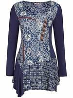Joe Browns plus size 22 24 mystical blue top blouse tunic button detail