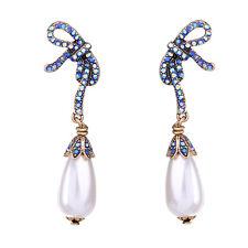 ZARA BEAUTIFUL BLUE BOW WHITE PEARL 2,5'' DROP DANGLE EARRINGS - NEW