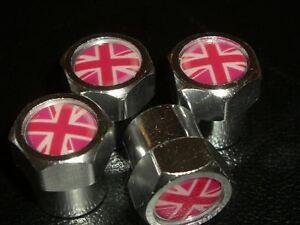 GIRLY PINK UNION JACK BRITISH MINI TYRE VALVE CAPS
