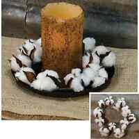 Wreath Candle Ring - Cotton Ball Boll Blossom Stalk - 8 Diameter - Country
