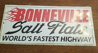 Bonneville Salt Flats Embossed Metal Sign Mancave Garage Wall Decor