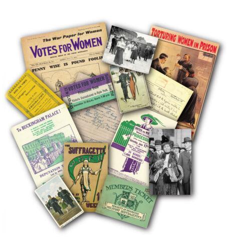 Suffragette Memorabilia Gift Pack with over 20 pieces of Replica Artwork