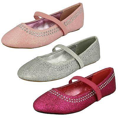 Girls H2293 Glitter Flat Shoe By Spot On £5.99