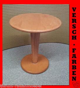 NEU-Beistelltisch-Couchtisch-aus-Rattan-Rot-Massiv-Lackiert-Rund-Holz-Tisch