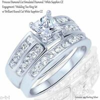 Princess Cut Simulated White Sapphire Accent Rhodium Silver Engagement Ring Set