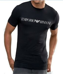 Image is loading Emporio-Armani-Mens-Black-T-shirt-chest-logo- 828380c9f