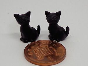 1-12th-Scale-Two-Sitting-Black-Kittens-Doll-House-Miniature-Cats-Pets-Animals