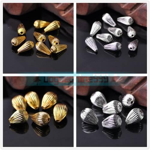 20Pcs métal Teardrop Charms or//plaqué argent Spacer Loose Beads À faire soi-même Findings