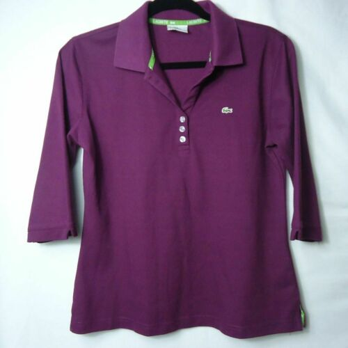 Womens Lacoste Purple 3/4 Sleeve Popover Polo Shir