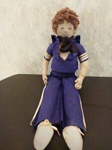 "Vintage Handmade Hand Sewn Sailor Cloth Doll Blue Outfit 20"" Long Nice Work"