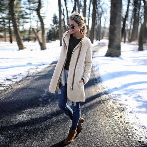 Women Winter Warm Baggy Cardigan Coat Long Zip Chunky Knitted Sweater Jumper UK