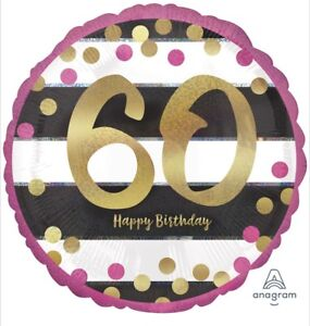 """60th Birthday Pink /& Gold 18/"""" Balloon Birthday Party Decorations"""