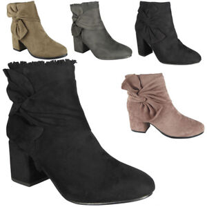 New-Womens-Ladies-Faux-Suede-Zip-Cuban-Heel-Work-Ankle-Bow-Boots-Shoes-Sizes
