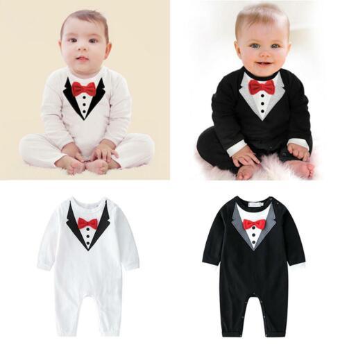 Infant Newborn Baby Boys Kids Outfits Jumpsuit Romper Gentleman Bodysuit Clothes