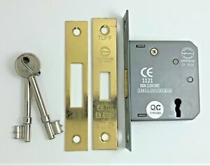 63mm, Nickel Plated Fire Rated Door Sash Locks CE BS Rated Mortice 3 Lever 63mm or 75mm