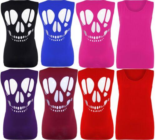 New Ladies laser cut skull vest tops 16-26