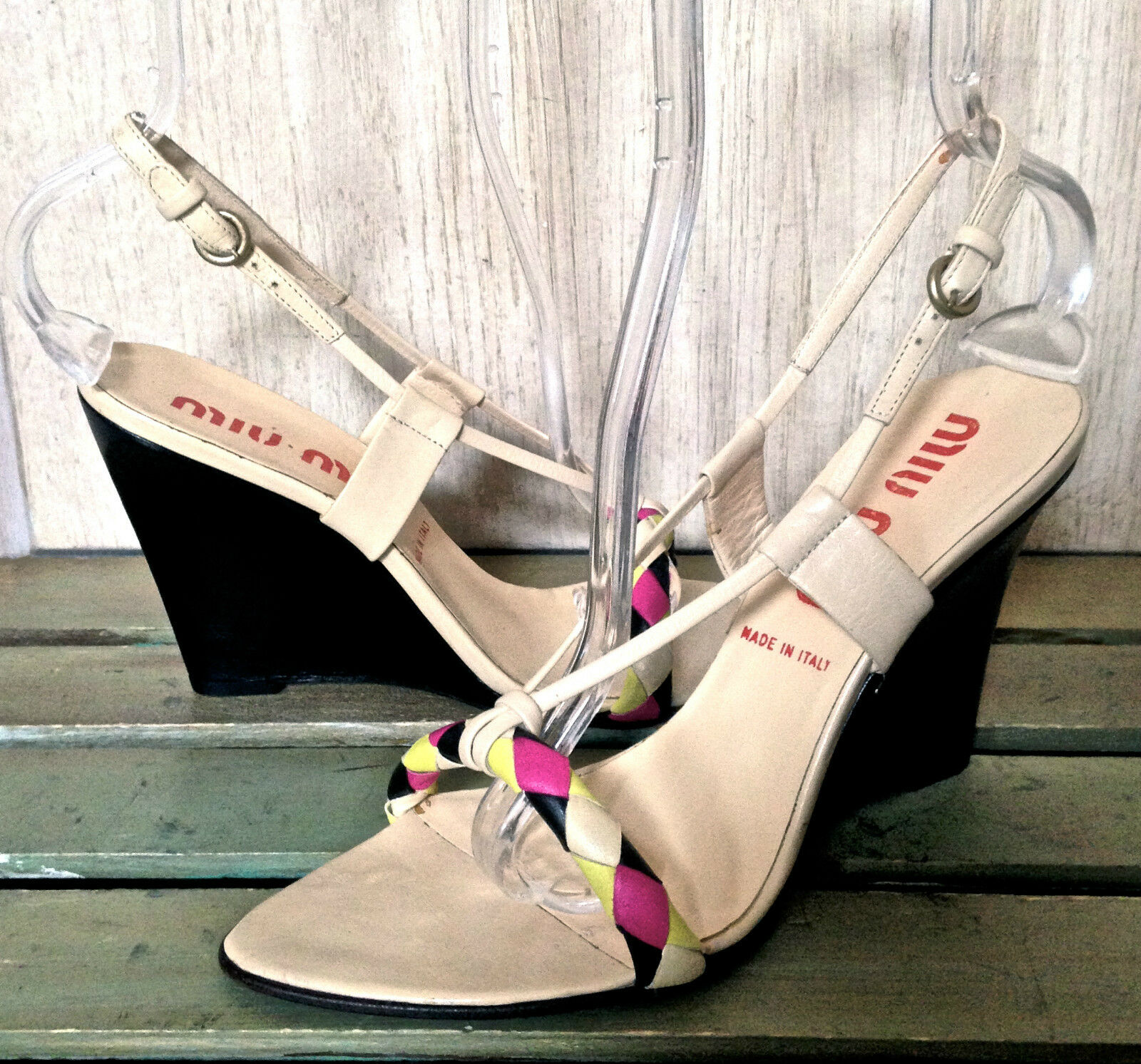MIU MIU tan Leder pink schwarz Near yellow braided wedge Sandales Near schwarz Perfect 38.5 4b12c6