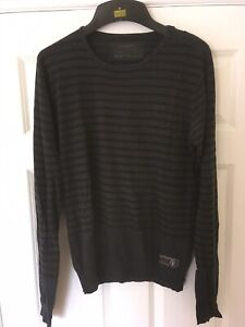 All-Saints-Black-And-Blue-Men-s-Striped-Long-Sleeve-Top-Mens-Size-M