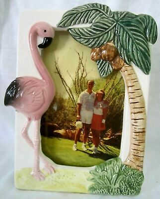 "Flamingo a 4/"" x 6/"" photo frame old ceramic c1997 22 years old NOS"