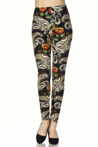 Leggings TC//235 Buttery Soft Always Brushed Black w//Print ONE SIZE