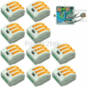 10-x-Wago-3-way-Electrical-Lever-Connectors-Wire-Terminal-Block-Clamp-222-413