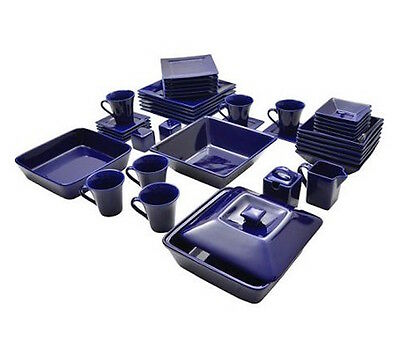 45 Piece Dinnerware Set Square Serving Dishes Plate Bowls Mugs Dining Bar