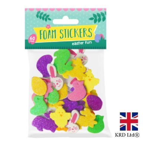 60x Easter Mousse Eva Stickers Lapins Oeufs poussins Décoration Craft Sac cartes kids