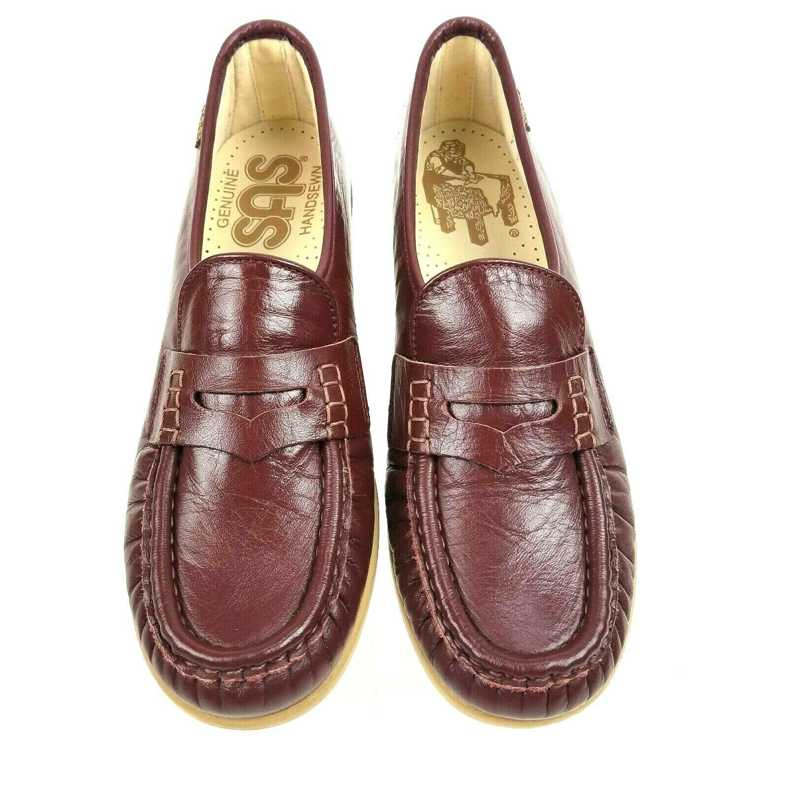 SAS Women's Burgundy Flats Leather Slip On shoes Penny Loafers Size 7N