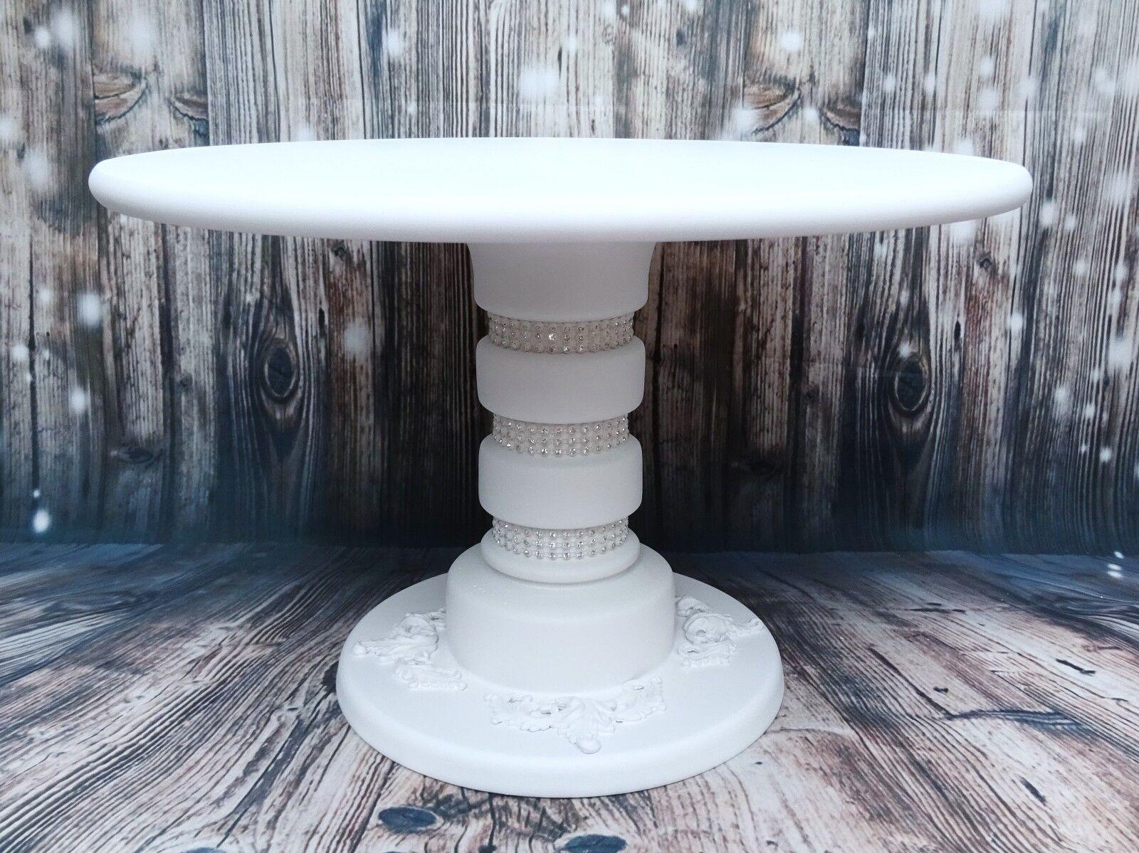 15 IN IN 15 (environ 38.10 cm) cristal blanc peint fait main en bois piédestal gâteau de mariage Support (E) fe478d