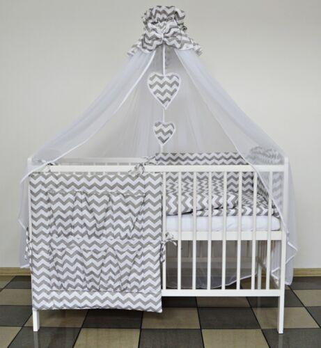 3 PC GREY CHEVRONS BABY BEDDING SET COT PILLOW//DUVET CASE COT BED INC BUMPER