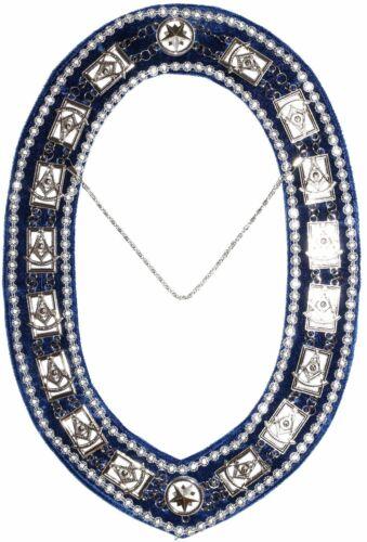 Masonic Regalia DELUXE PAST MASTER Metal Chain Collar BLUE Backing DMR-200SBWRS