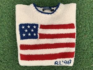 Vintage Polo Ralph Lauren Knit American 1998 Usa Flag Sweater Size Large by Polo Ralph Lauren