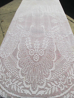 """Tablecloth Peacocks Floral Lace Vintage White Rectangle 65"""" x 90"""" Cutters Craft"""