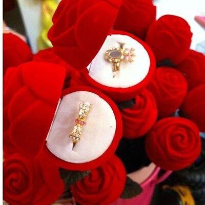 Red Velvet Rose Engagement Wedding Earring Ring Pendant Jewelry Display Box