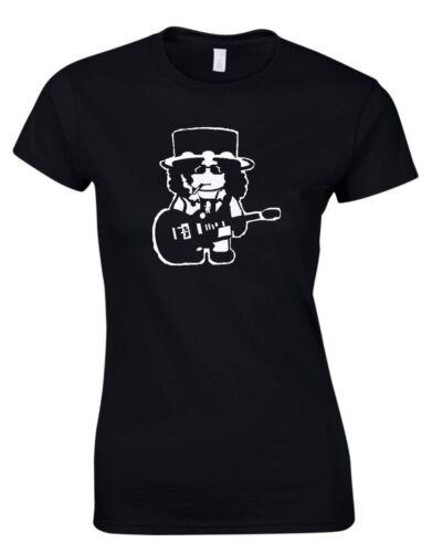 Slash Cartoon 80s Icon Retro Rock Music Womens T-Shirt