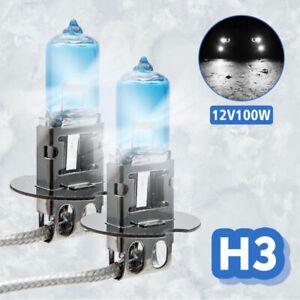 2-x-H3-HID-Bombillas-De-Luz-De-Gas-De-Xenon-Para-Faro-100w-6000k-12v