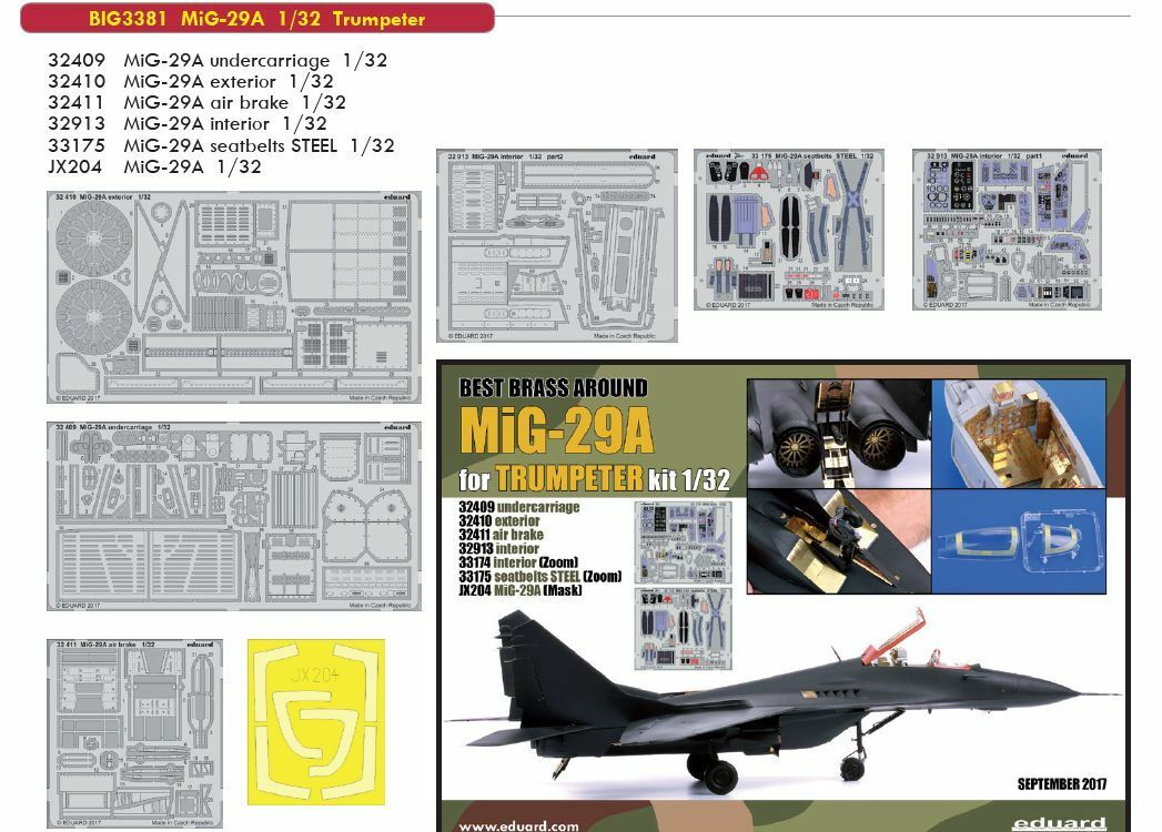 Eduard 1/32 Mikoyan Mig-29a Fulcrum Big-Ed Set  3381