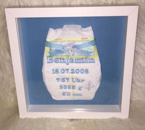 Windel bestickt im Rahmen Ostern Geburt Taufe Geburtstag Neu