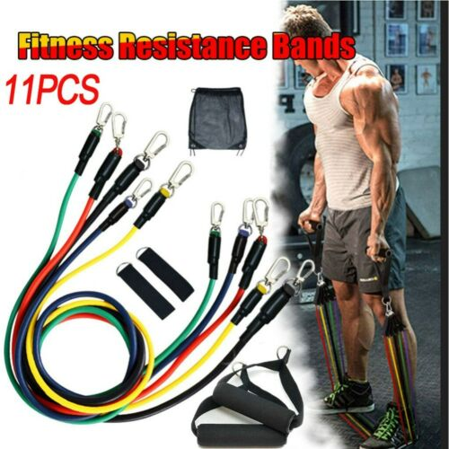 11PCS//Set Resistance Bands Workout Abs Exercise Yoga Crossfit Fitness Train Tube