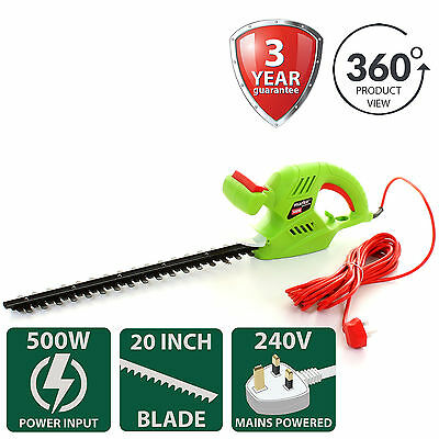 "500W Hedge Trimmer Electric Shear Cutter Garden Power Tool 510mm/20"" Metal Blade"